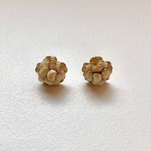 Anthropologie cream and gold flower studs